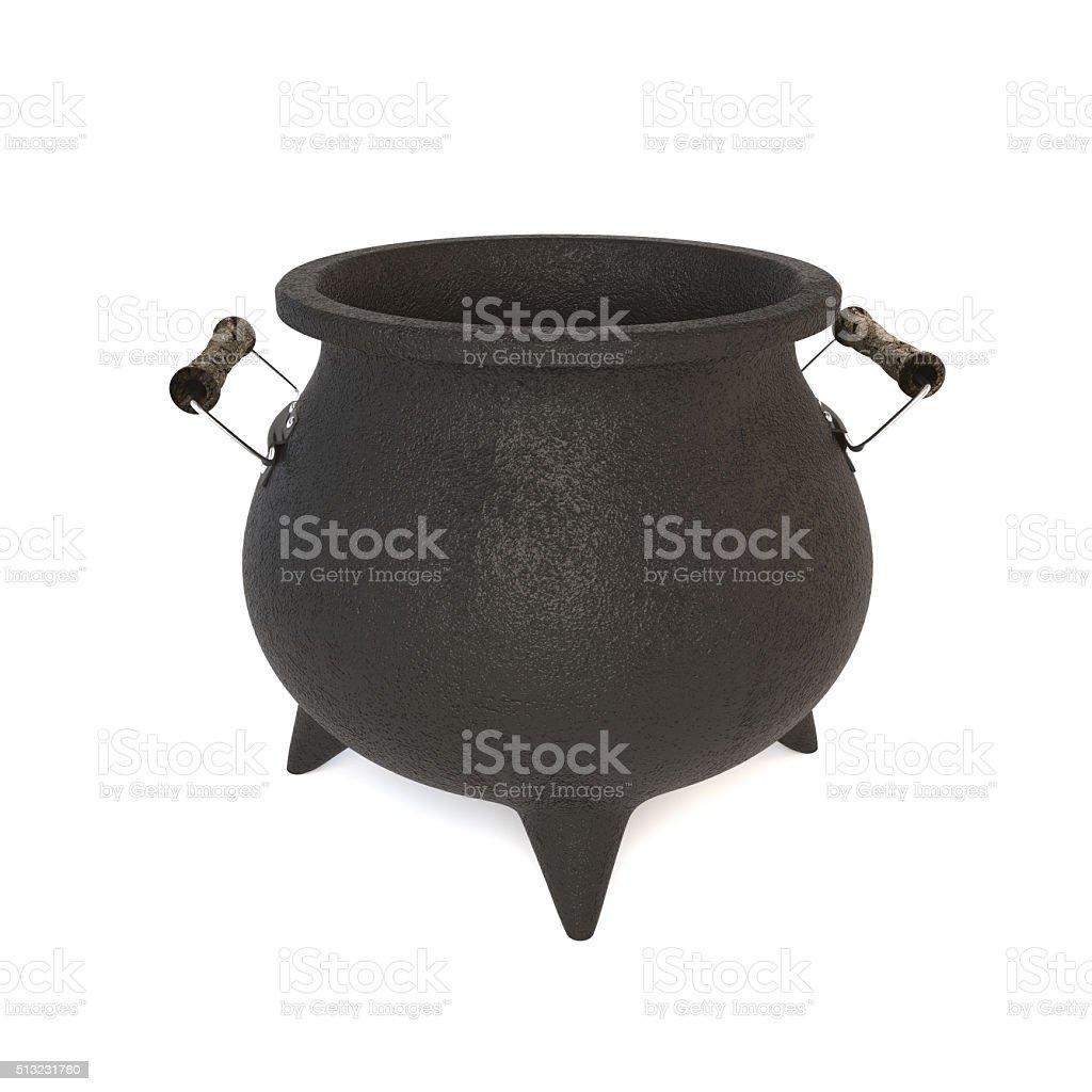 3D illustration of a black cast-iron pot on white background. stock photo