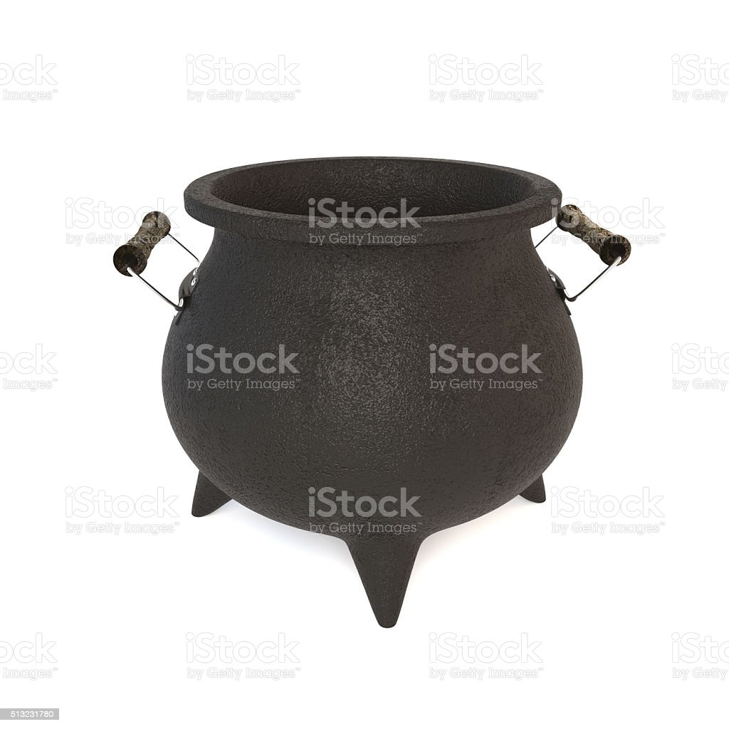 3D illustration of a black cast-iron pot on white background. stock photo