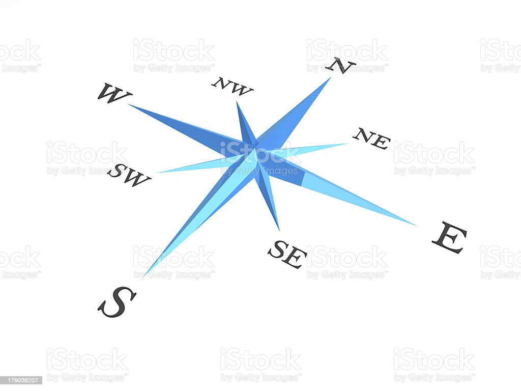 Illustration of a blue and white compass royalty-free stock photo