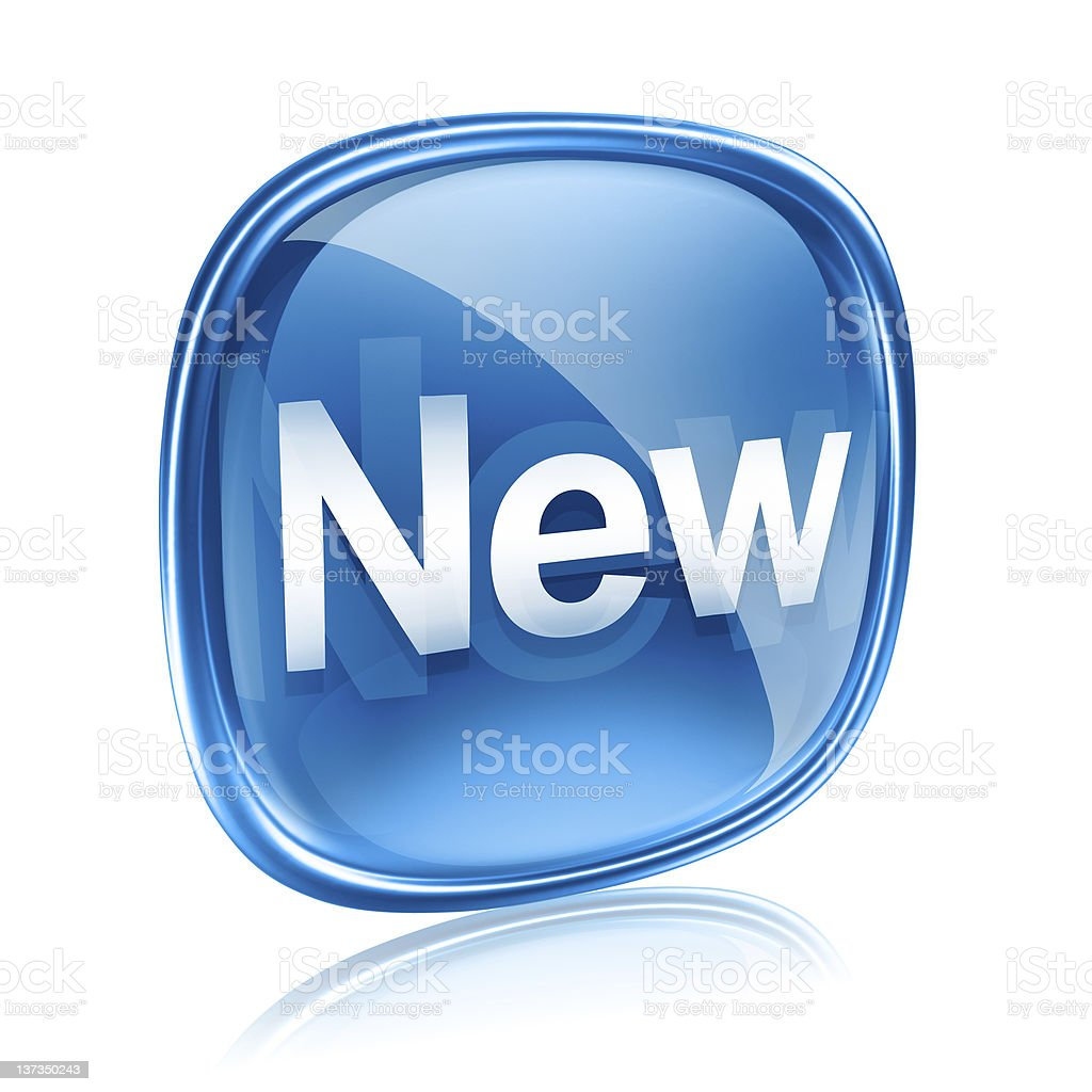 Illustration of a blue and white shiny icon that says New royalty-free stock photo