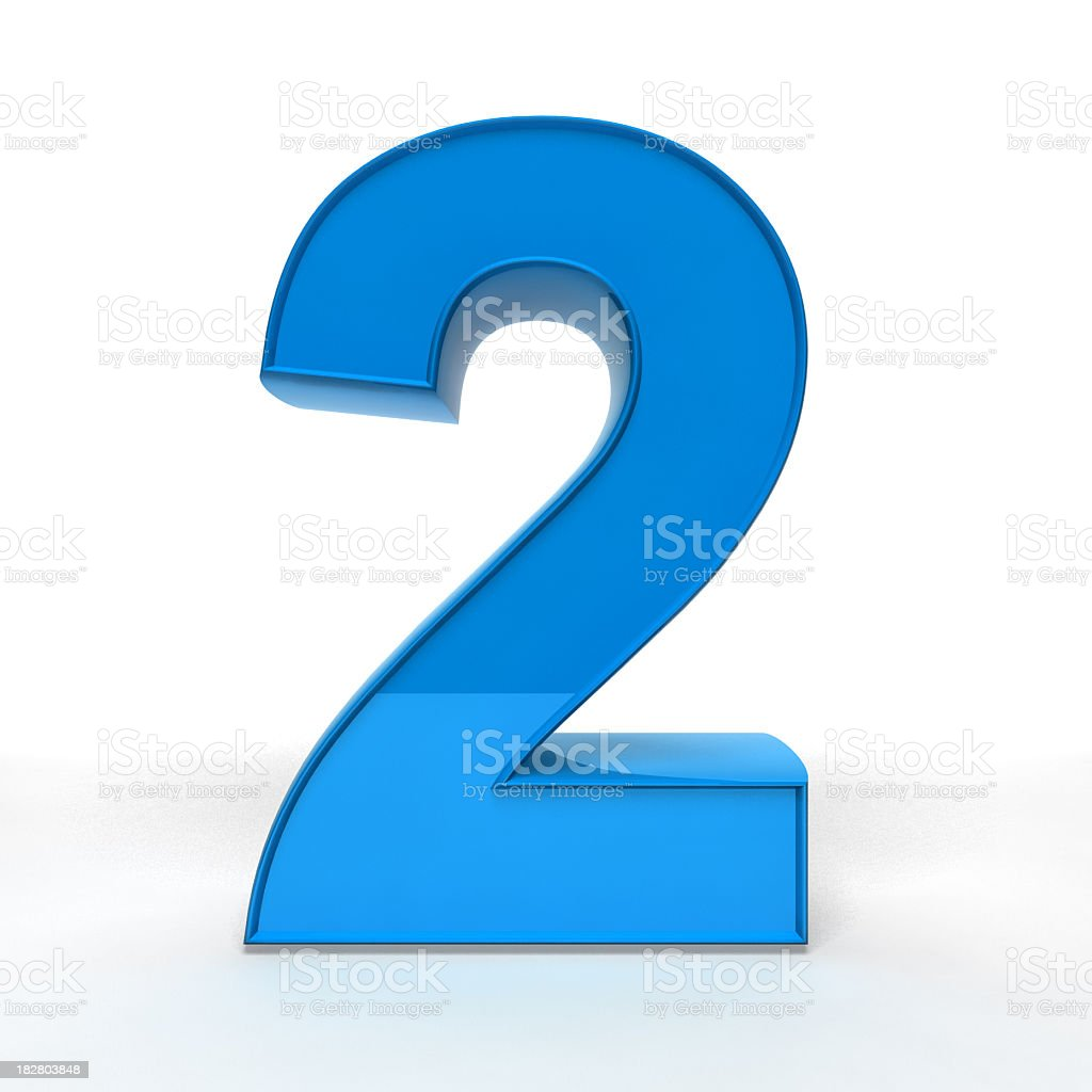 Illustration of a blue number 2 in 3D royalty-free stock photo