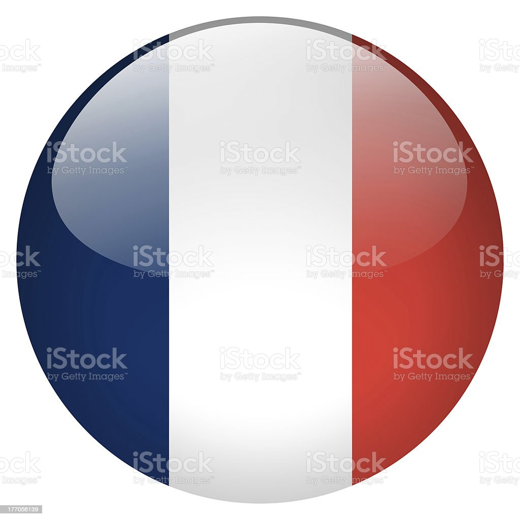 Illustration of a button with French flag colors stock photo