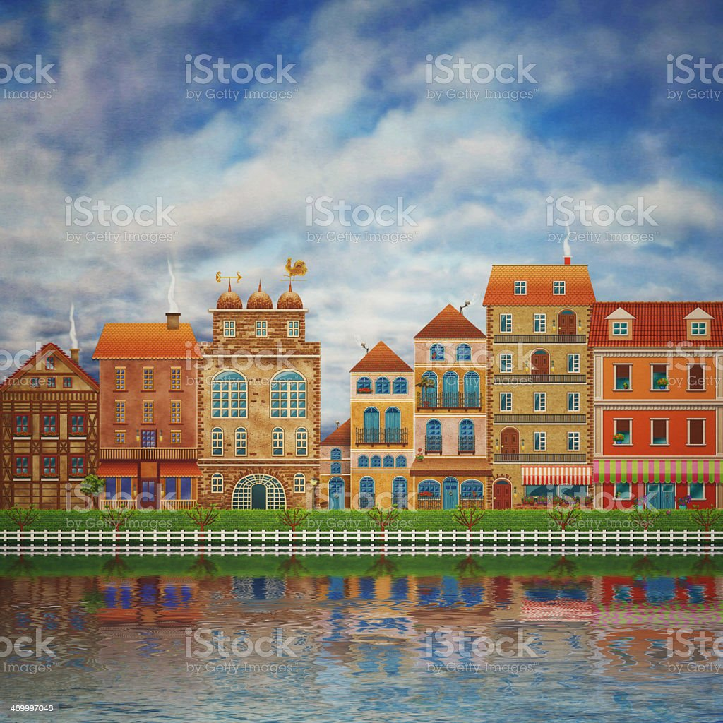 Illustration of a city on the river stock photo
