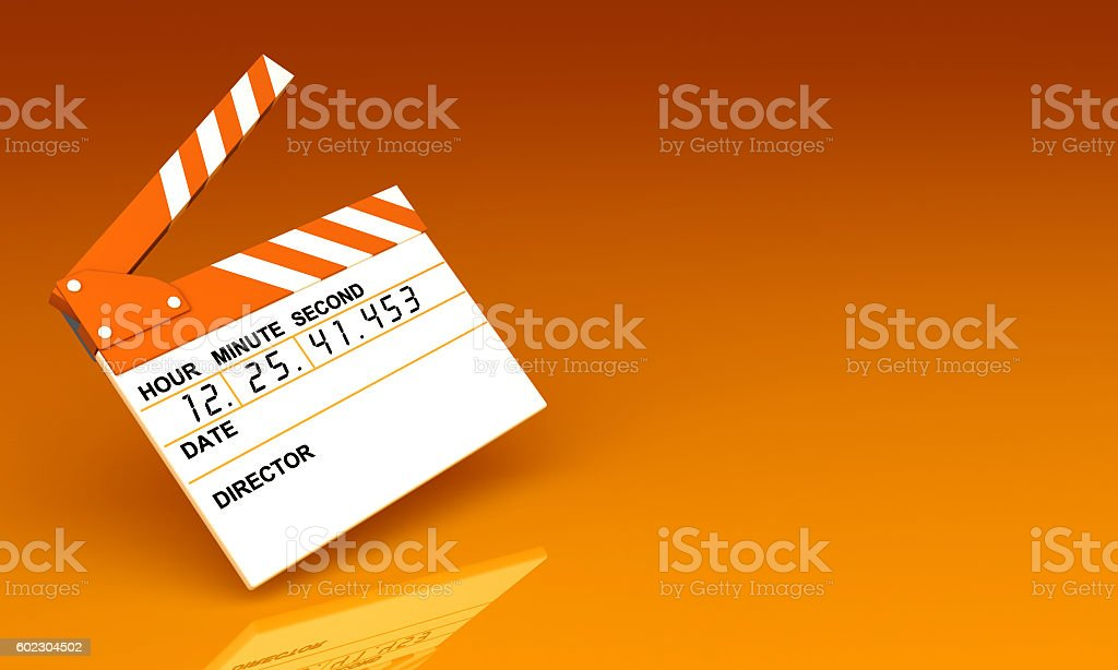3D illustration of a clapperboard for the movie. stock photo