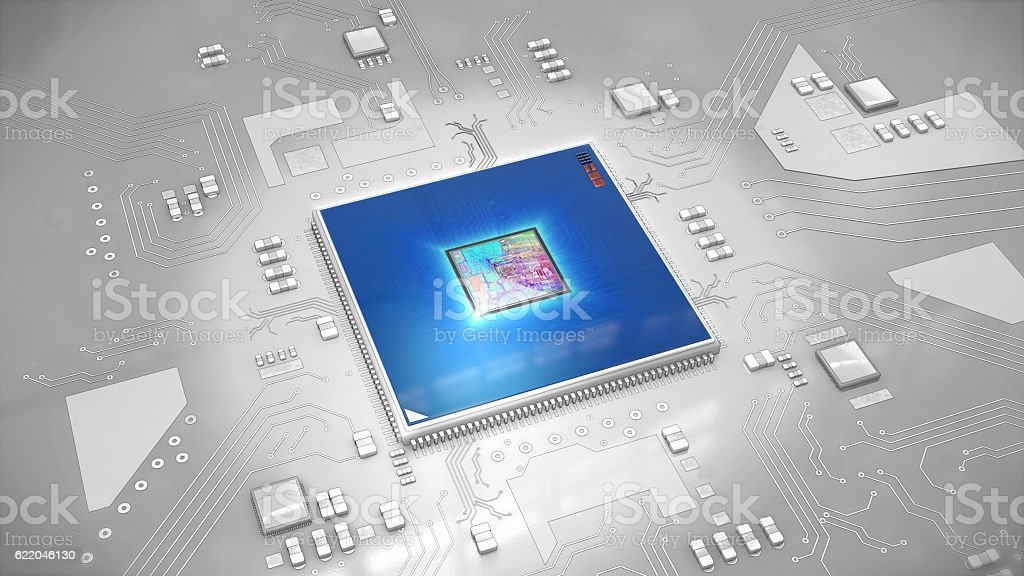 Illustration of a computer processor on circuit board stock photo