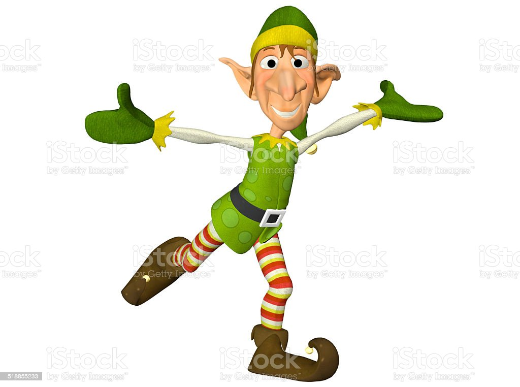 Illustration of a dancing Christmas elf stock photo