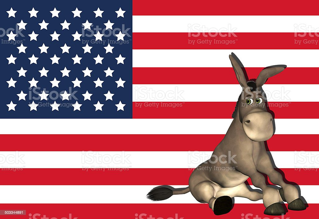 Illustration of a donkey and the USA flag stock photo