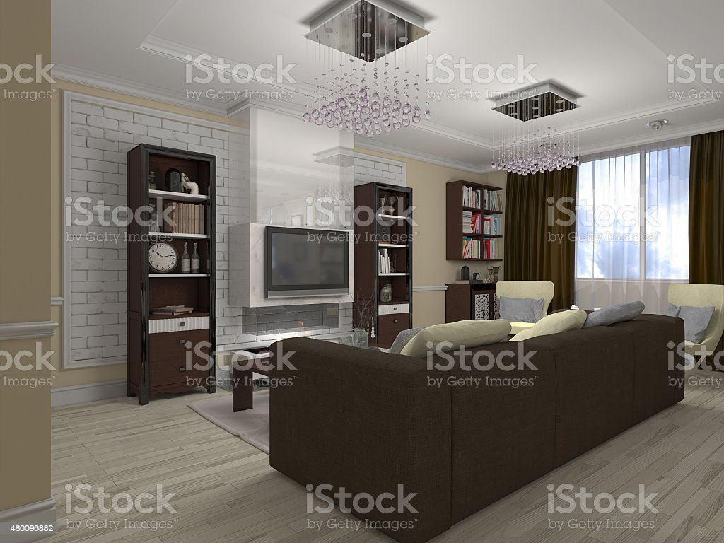 3D illustration of a drawing room and kitchen stock photo