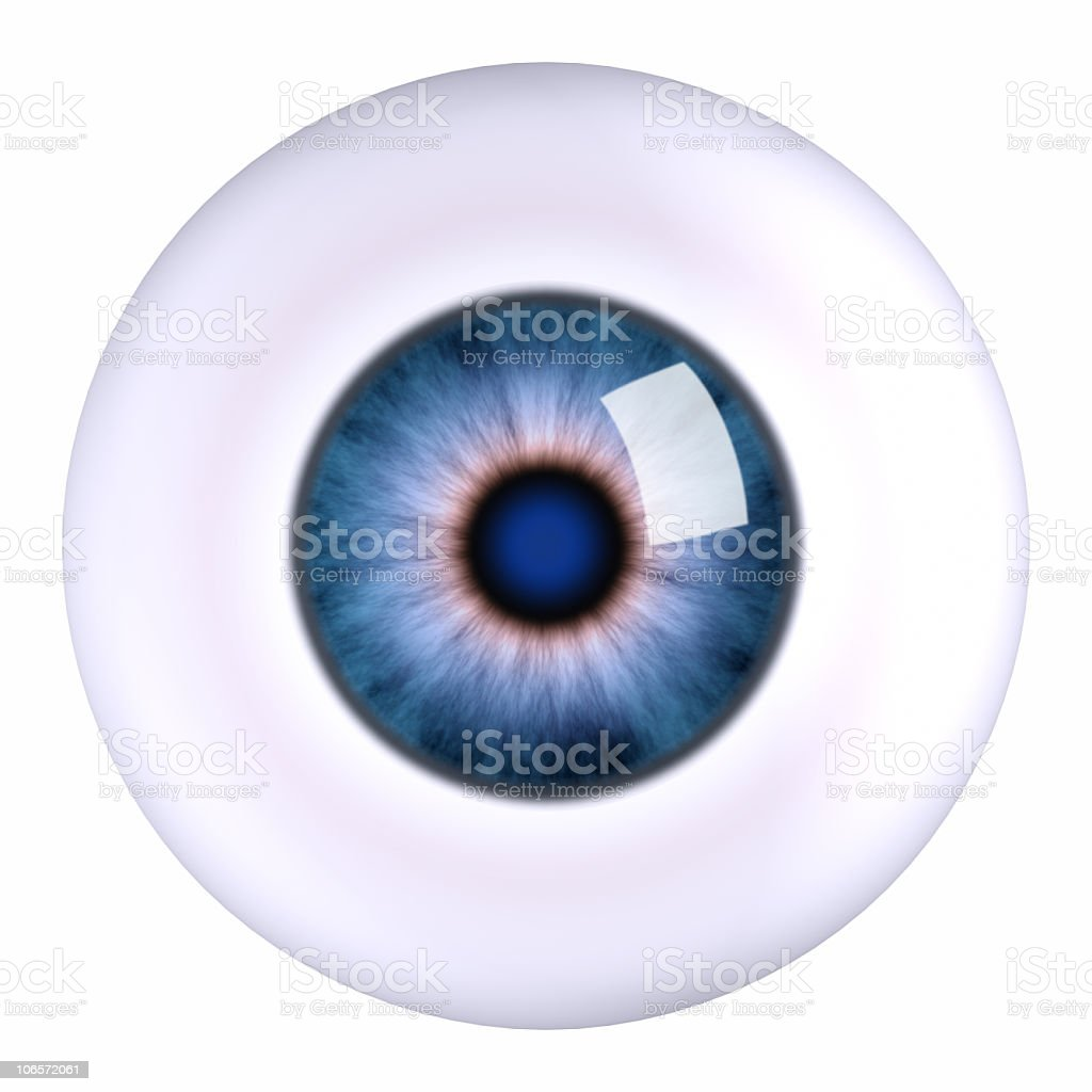Illustration of a eyeball with a blue iris royalty-free stock photo