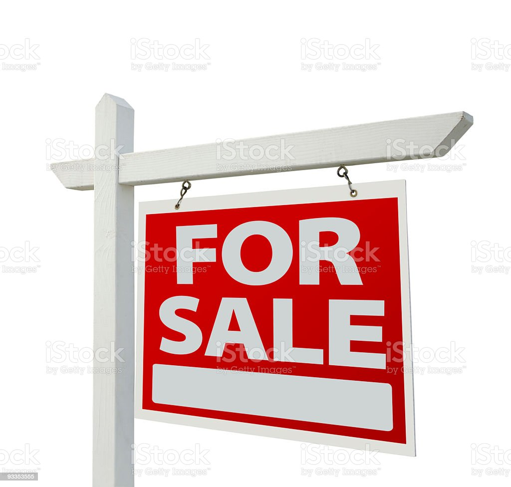 Illustration of a FOR SALE real estate sign in red stock photo
