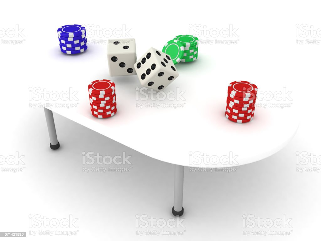3D Illustration of a gambling table with stacks of chips and dices stock photo