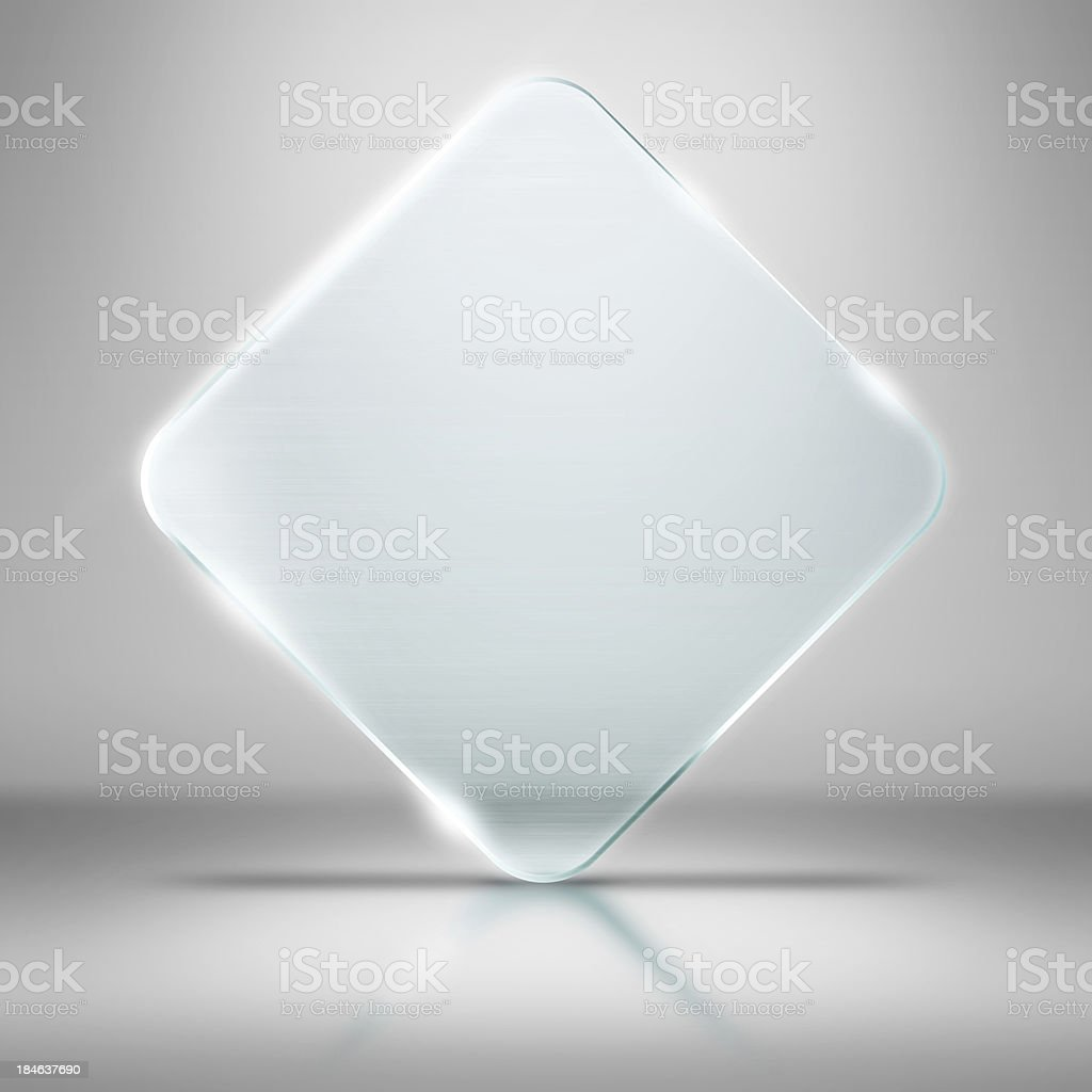 Illustration of a glass square standing on its corner stock photo
