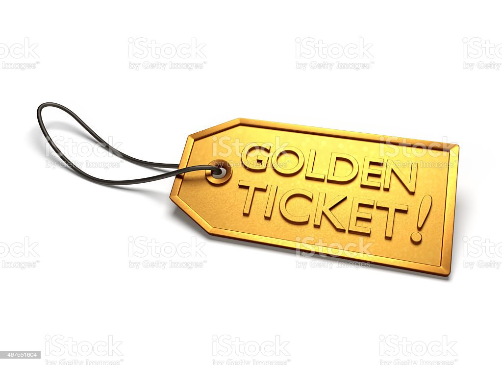 Illustration of a golden ticket on a white background stock photo
