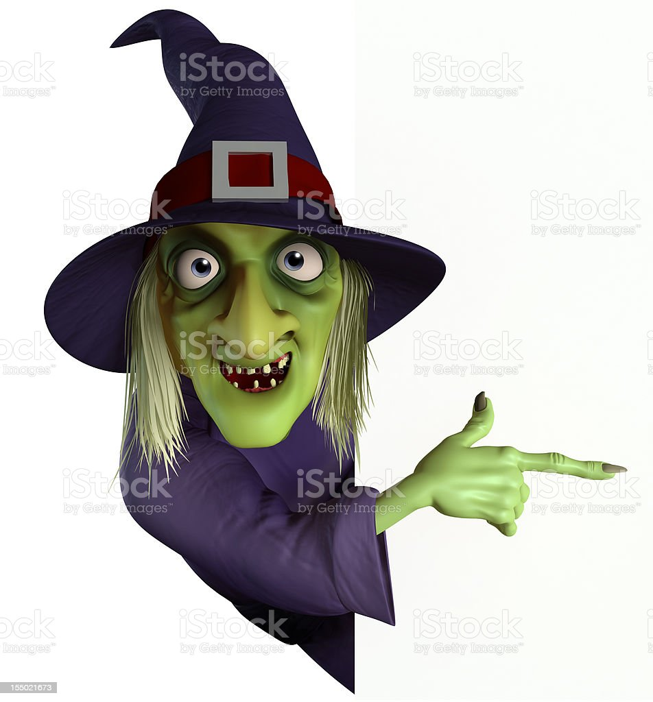 Illustration of a green faced Halloween witch stock photo