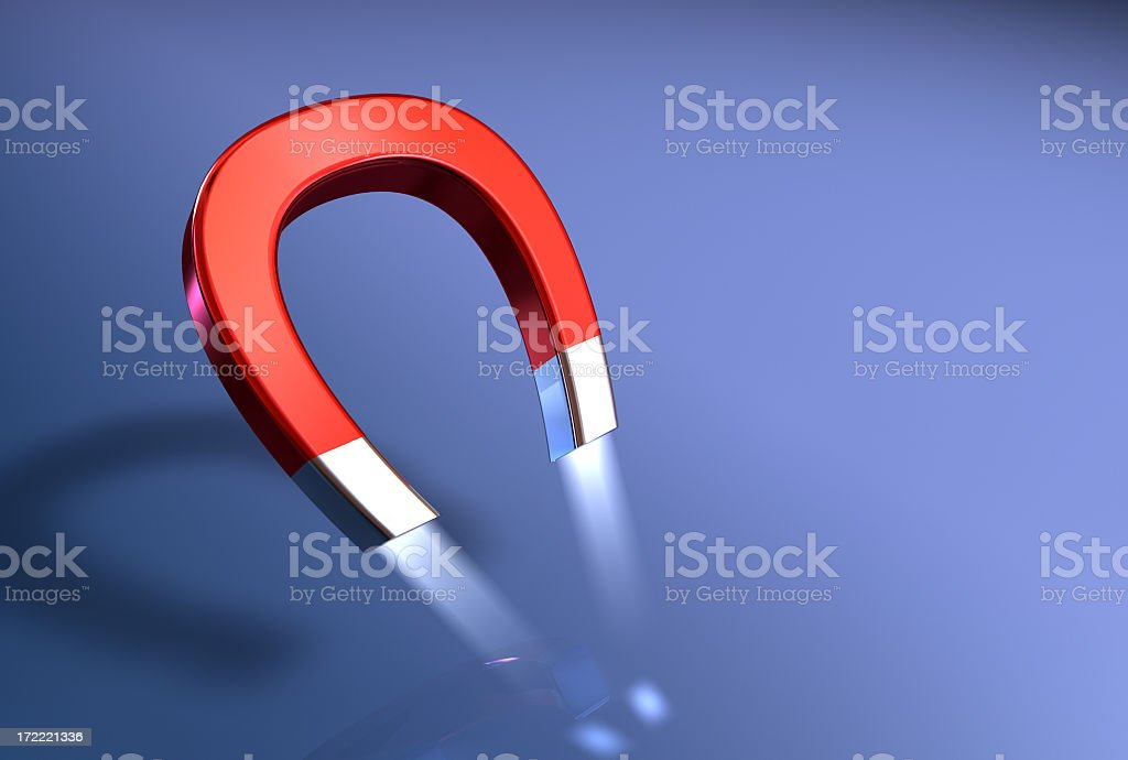 Illustration of a horseshoe magnet's attractive power stock photo
