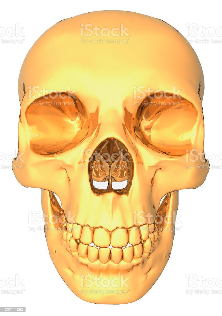 illustration of a human skull gold color stock photo