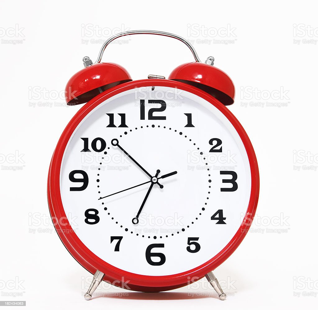 Illustration of a large red retro alarm clock royalty-free stock photo