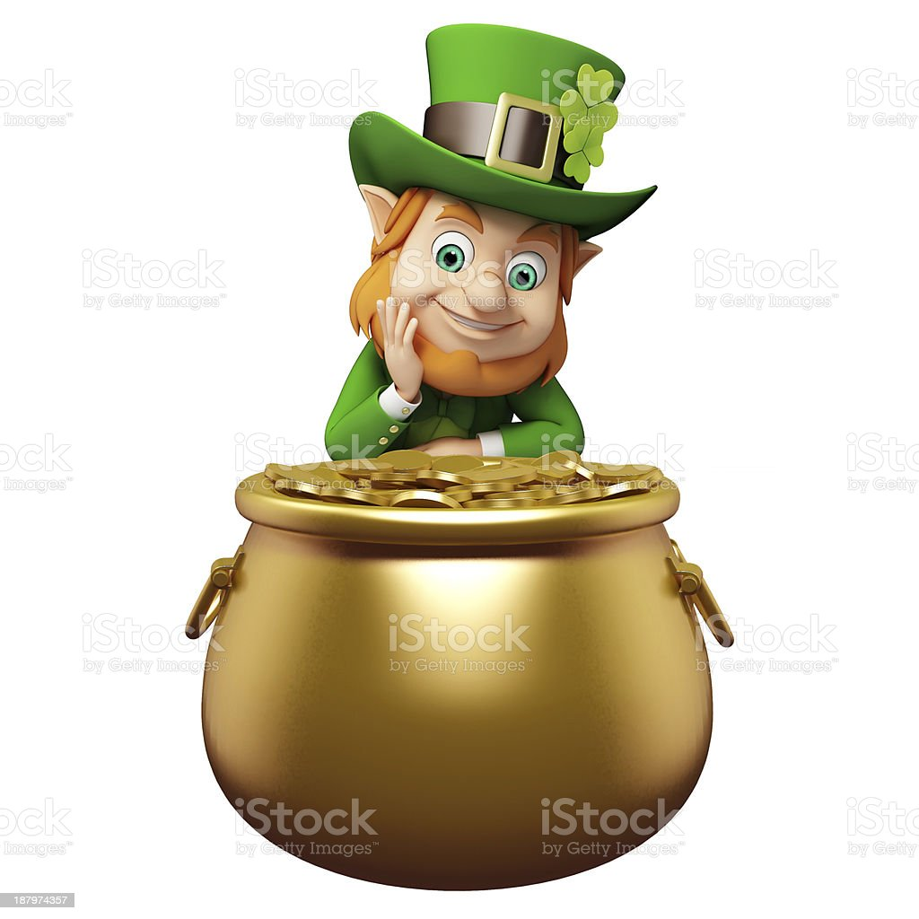 Illustration of a Leprechaun with a pot of gold stock photo