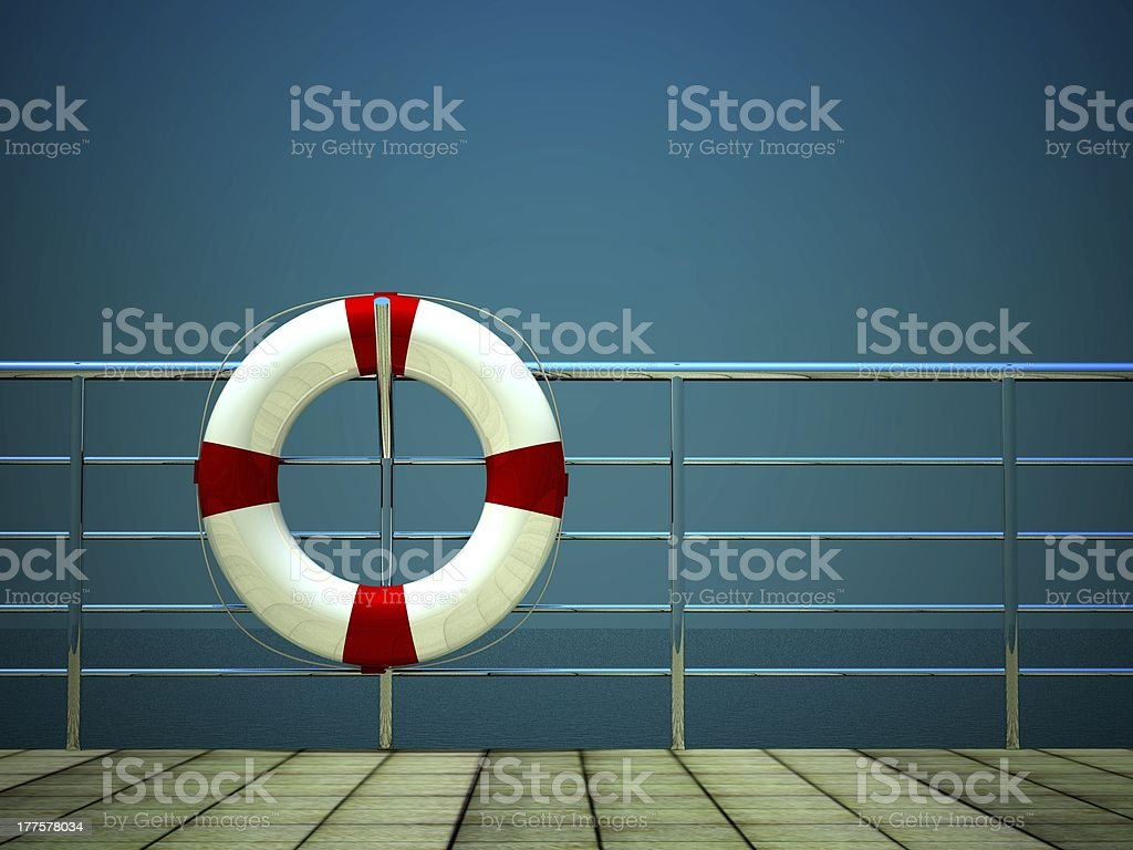 3D illustration of a life ring hanging on the boat railing royalty-free stock photo