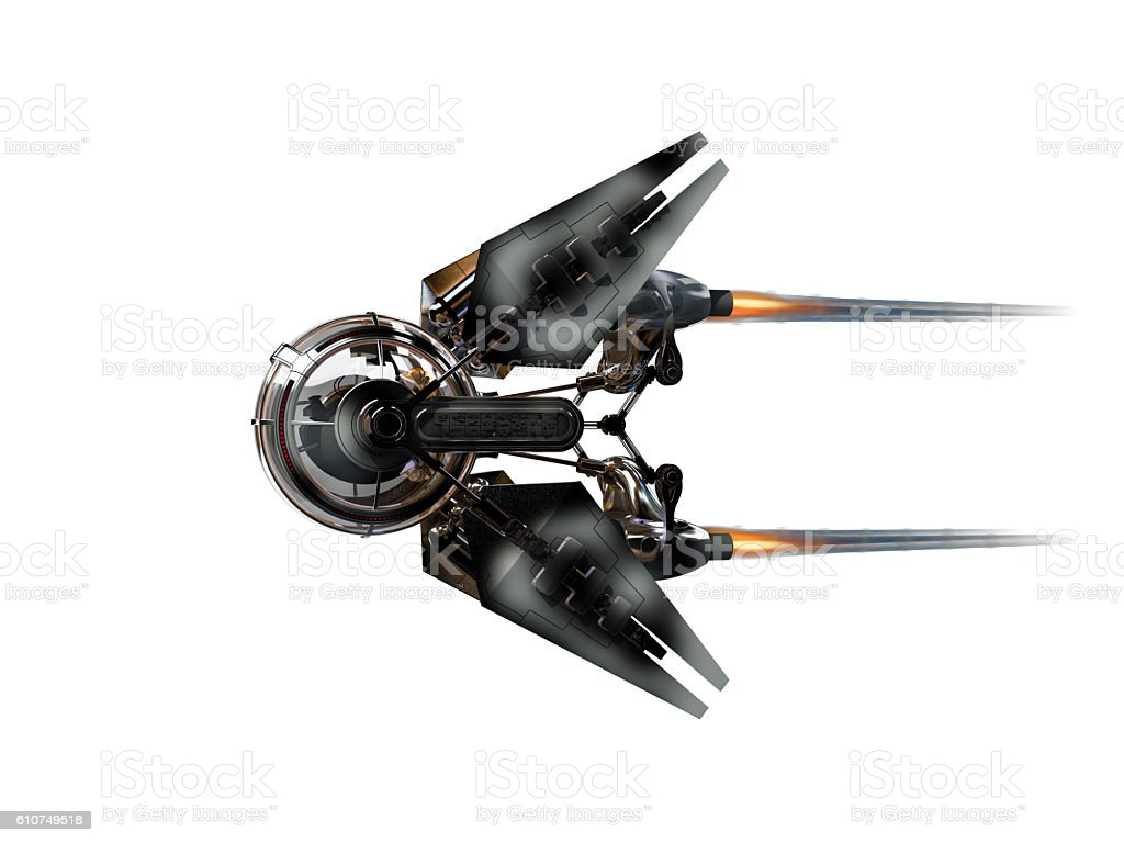 3D Illustration of a manned spacecraft stock photo