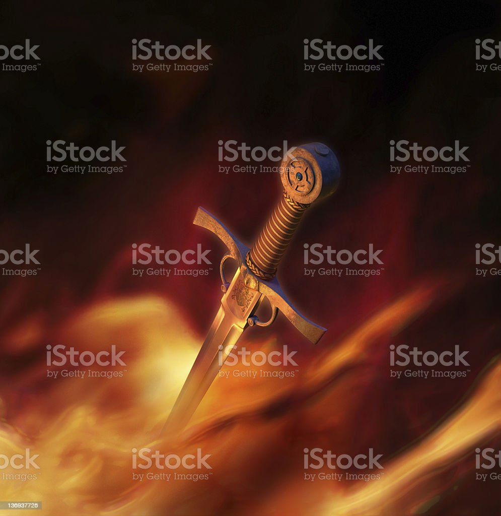3D illustration of a medieval sword in fire stock photo