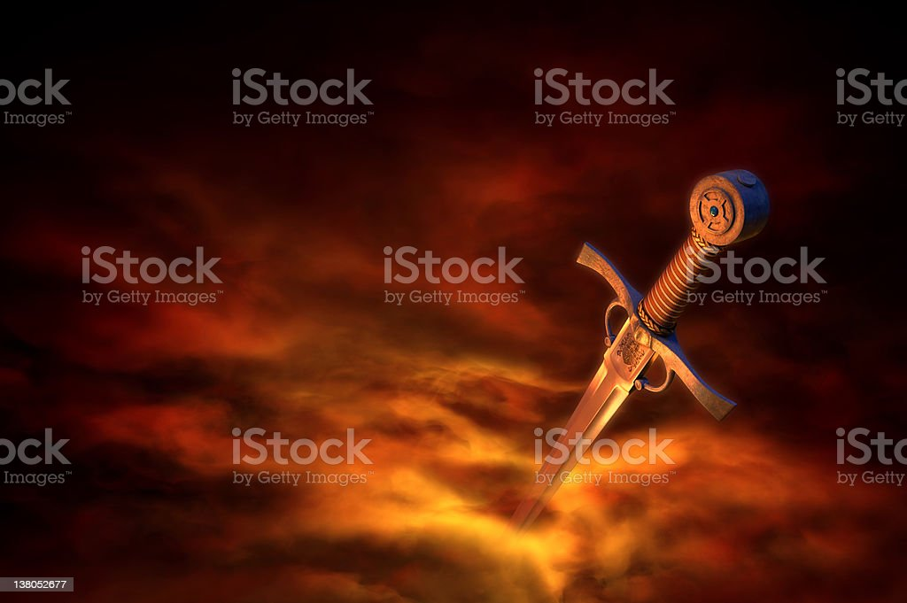 3D illustration of a medieval sword stock photo