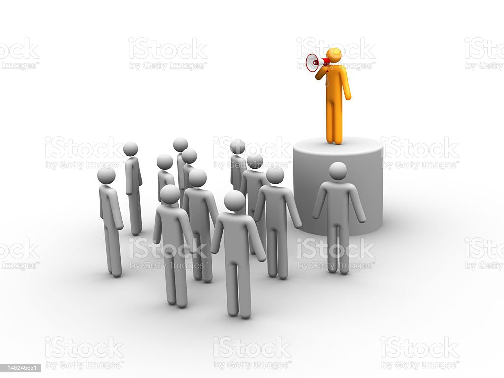 Illustration of a meeting with an orange silhouette speaking royalty-free stock photo