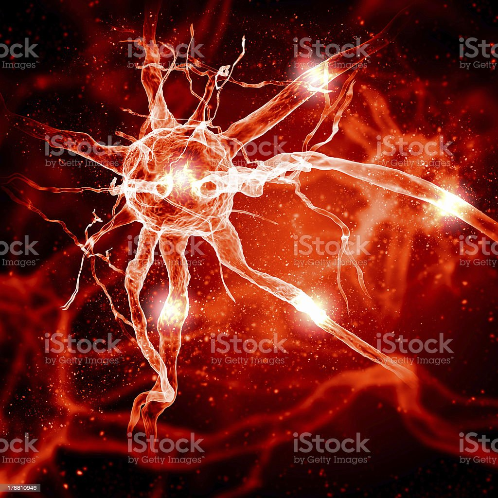 Illustration of a nerve cell royalty-free stock photo