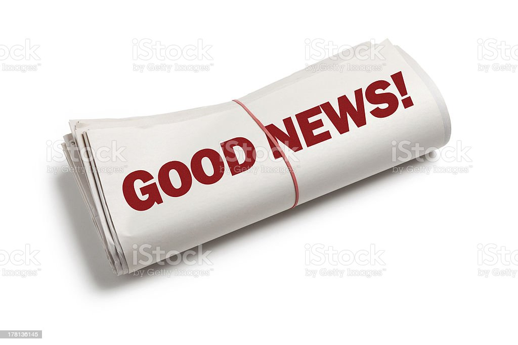 Illustration of a newspaper with good news headline stock photo