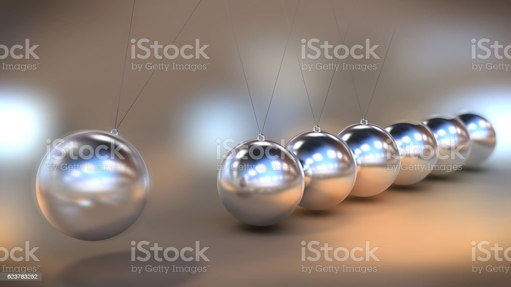 Illustration of a Newton's cradle in close up view stock photo