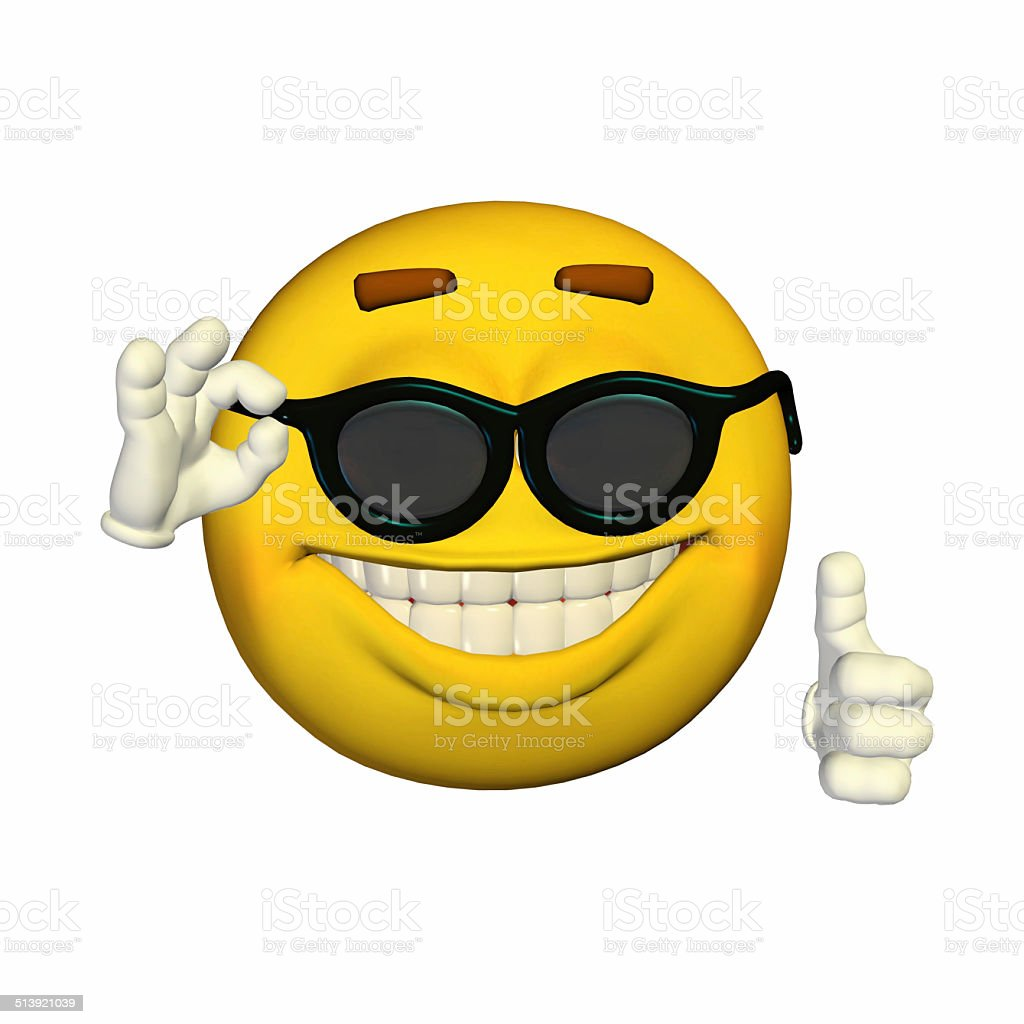 Illustration of a oool yellow smiley with sunglasses stock photo