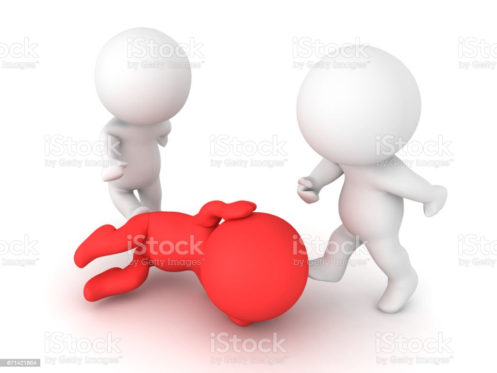 3D illustration of a person sitting in the fetal position while being attacked stock photo