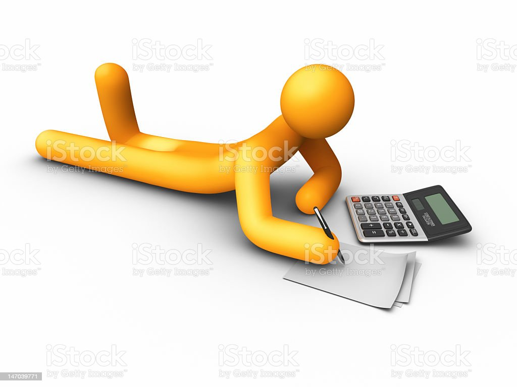 Illustration of a person using a calculator royalty-free stock photo