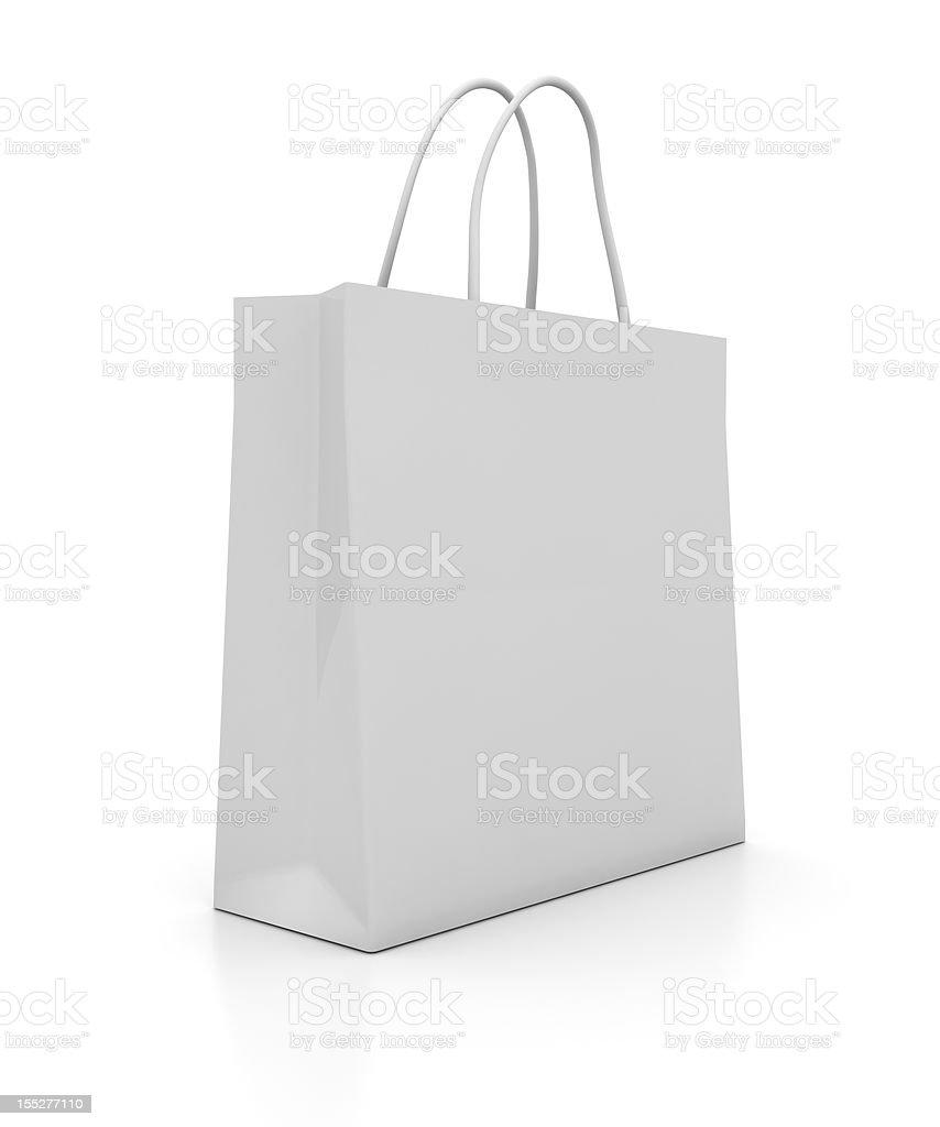 Illustration of a plain white shopping bag stock photo