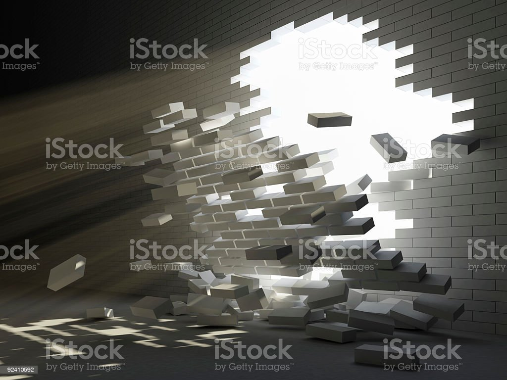 Illustration of a portion of a brick wall crumbling in stock photo