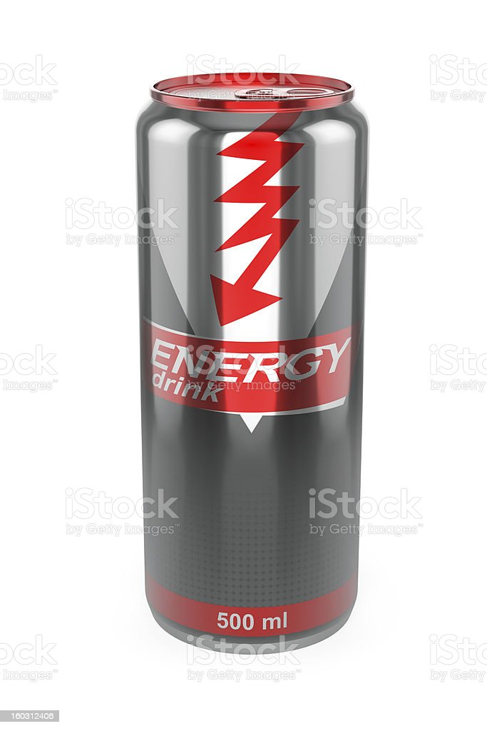 3D illustration of a red and gray energy drink can stock photo