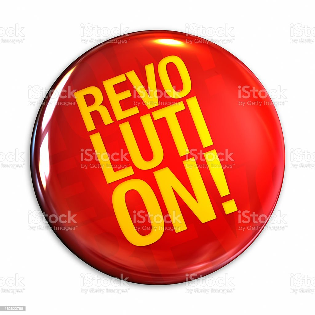 Illustration of a red button with revolution text stock photo