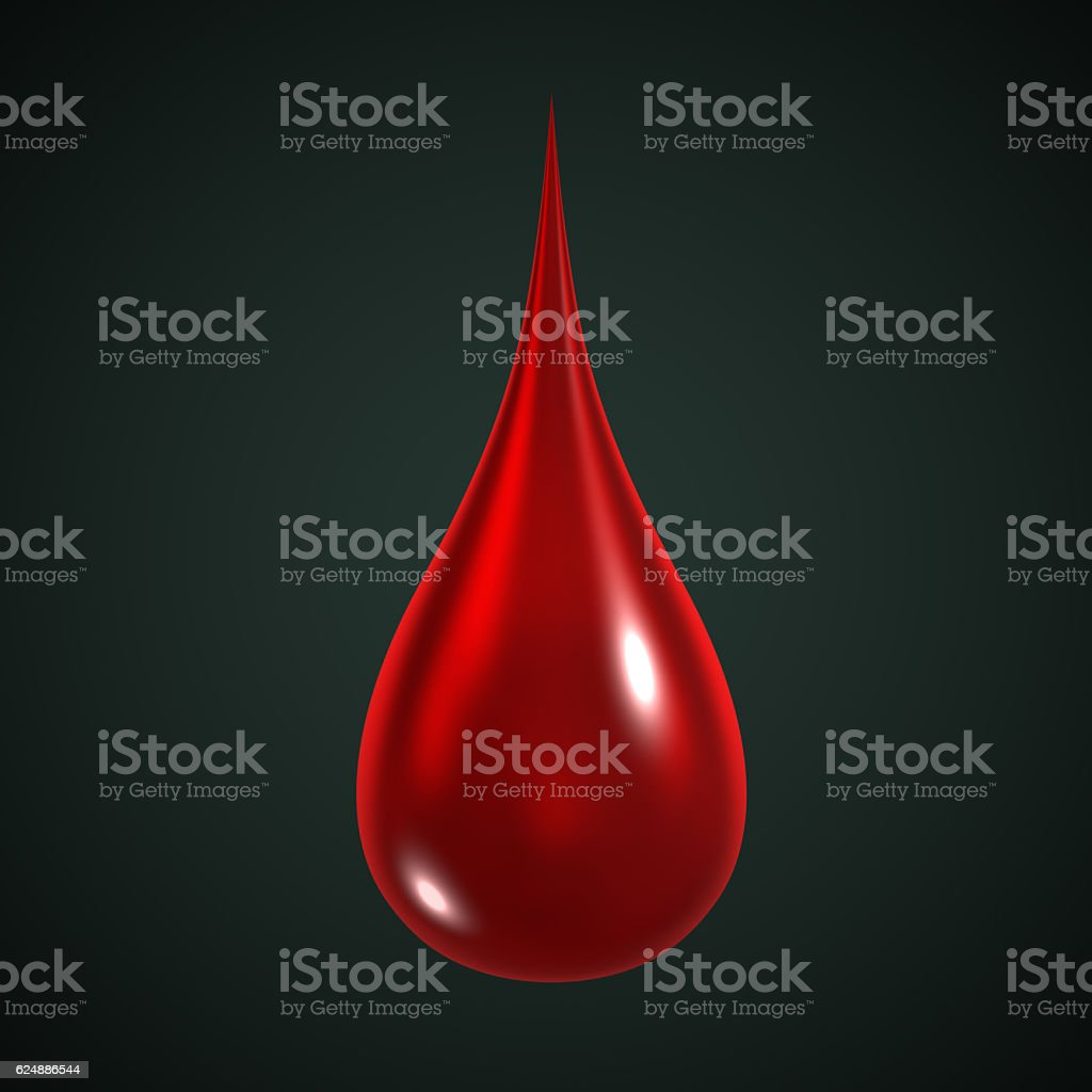 3D Illustration of a red drop of blood stock photo