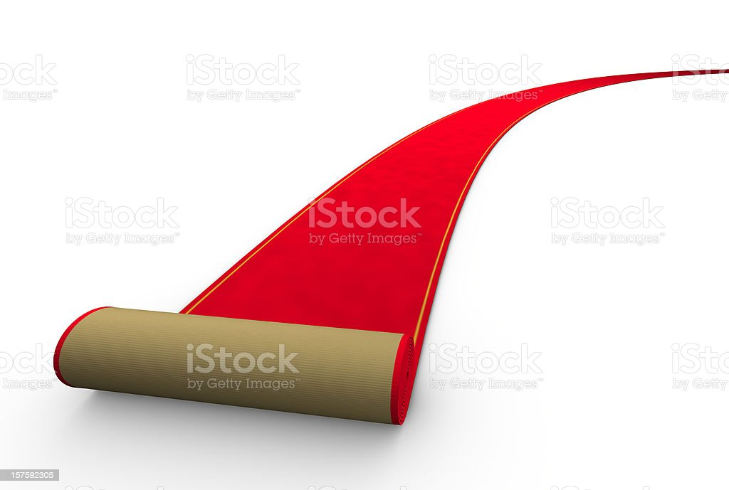 Illustration of a rolling red carpet on a white background stock photo