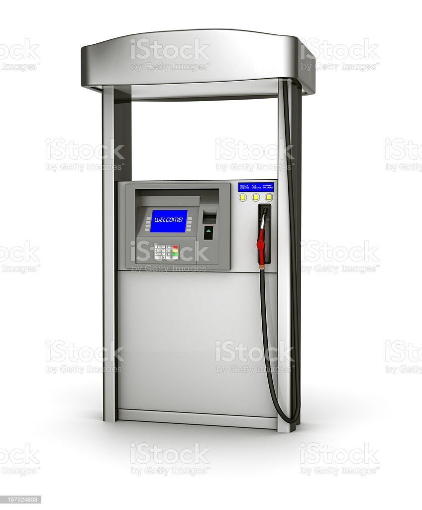 Illustration of a silver fuel pump over a white background stock photo