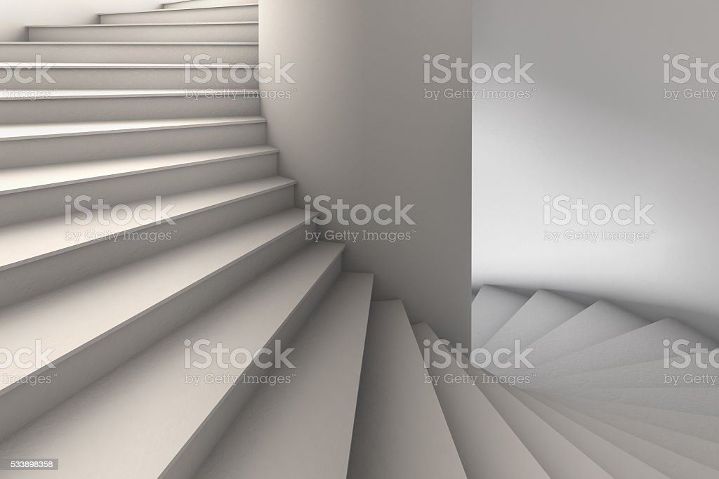 3D Illustration of a Simple White Spiral Staircase stock photo