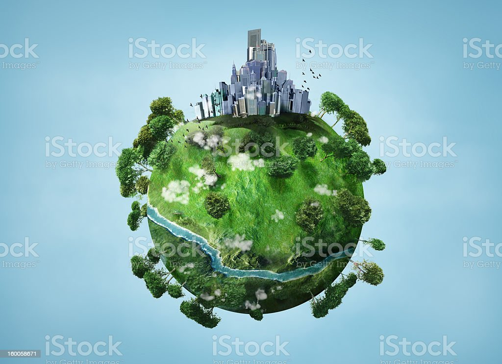 Illustration of a small green planet with a river and town stock photo