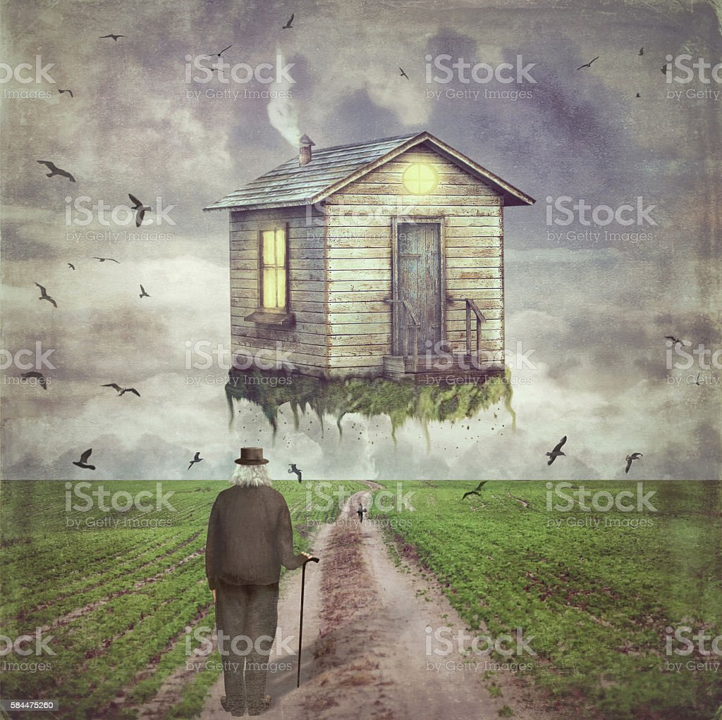 Illustration of a  small house  in   sky  above  glade stock photo
