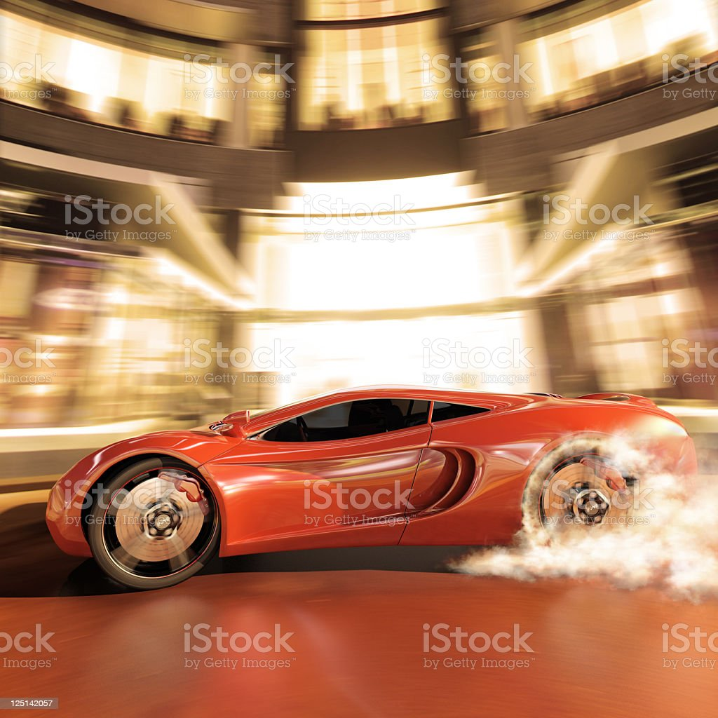 Illustration of a sport car making a high speed burnout  stock photo