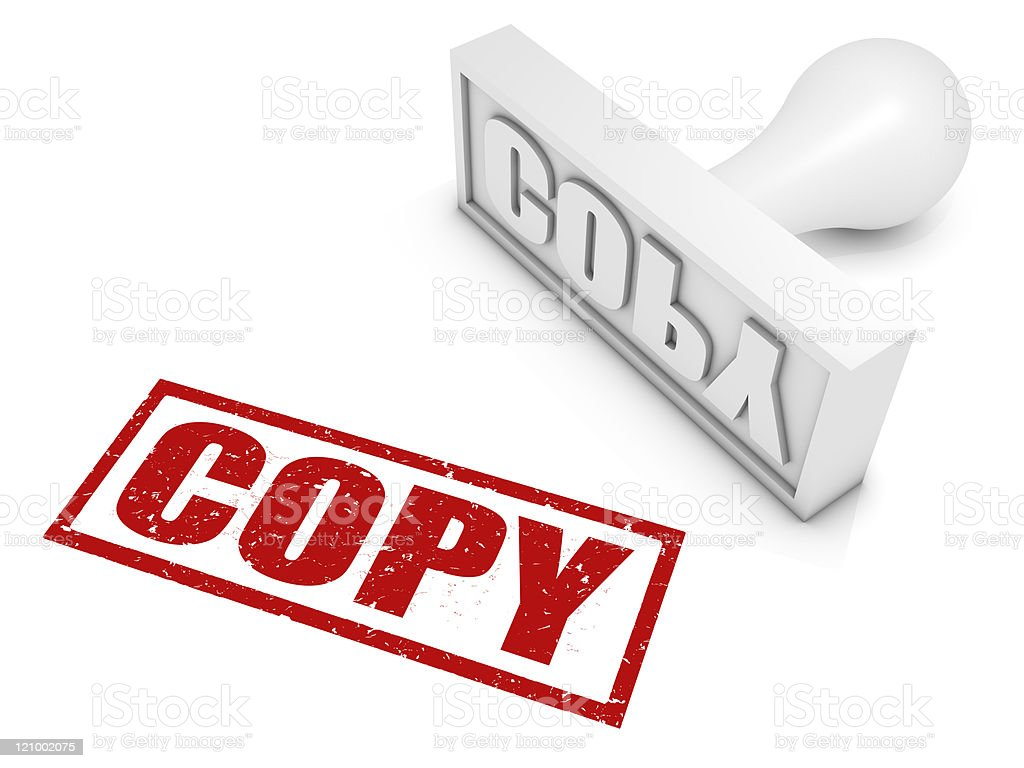 Illustration of a stamp with the text Copy stock photo