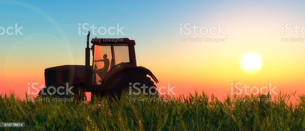 illustration of a tractor circulating stock photo