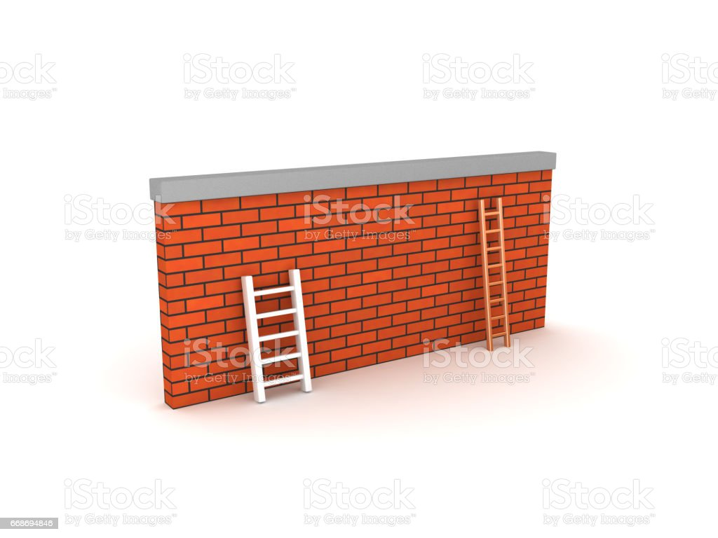 3D Illustration of a wall with a small and a large ladder stock photo