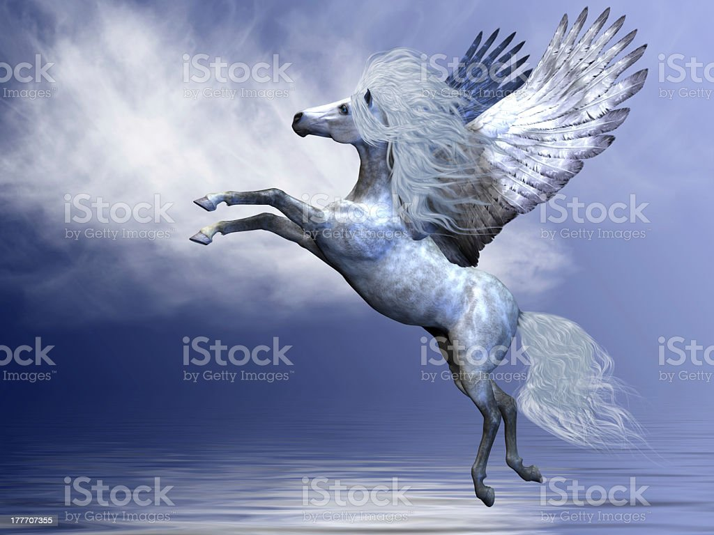 Illustration of a white Pegasus over a blue white background stock photo