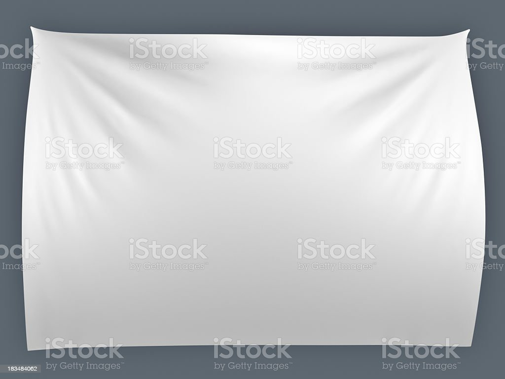 Illustration of a white rumpled banner on a gray background stock photo