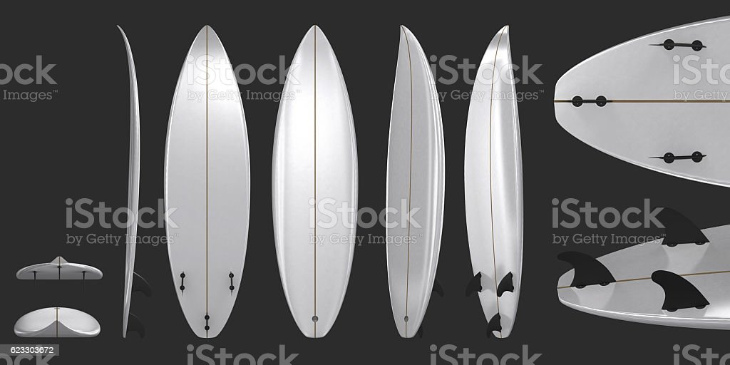 Illustration of a white surfboard top, front and bottom stock photo